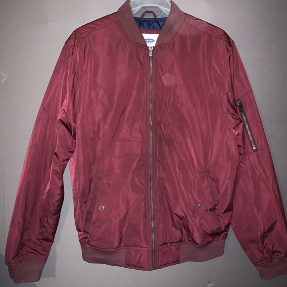 Old Navy Other - Old Navy Reflective Burgundy Bomber Jacket